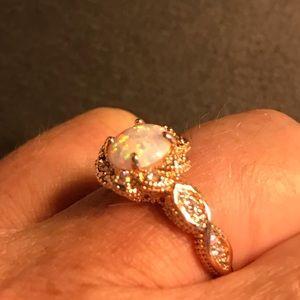 Rose gold filled opal ring